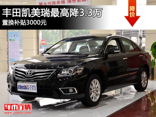 丰田凯美瑞最高降3.3万 置换补贴3000元