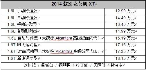 潮流品质再升级 2014款英朗XT迎新上市