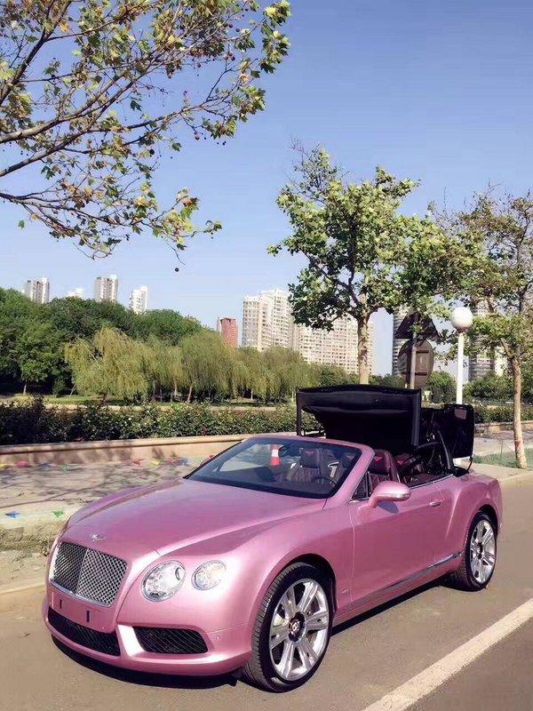 浪漫系宾利GTC敞篷超跑 限量粉色超耀眼-图1