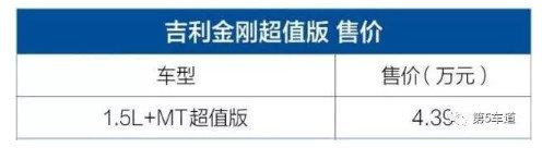 价格创新低 吉利金刚超值型上市售4.39万-图1