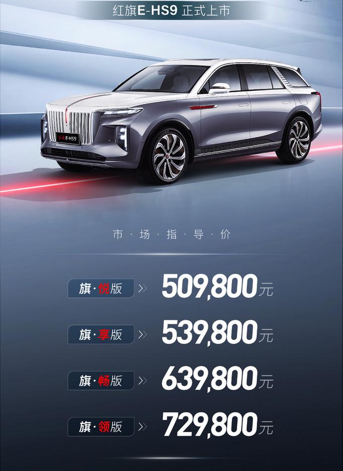 红旗E-HS9旗舰纯电SUV上市 售50.98-72.98万元-图3
