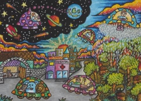 通过一幅幅绘画作品,分享他们对于环境保护,未来交通,生活家园及世界图片