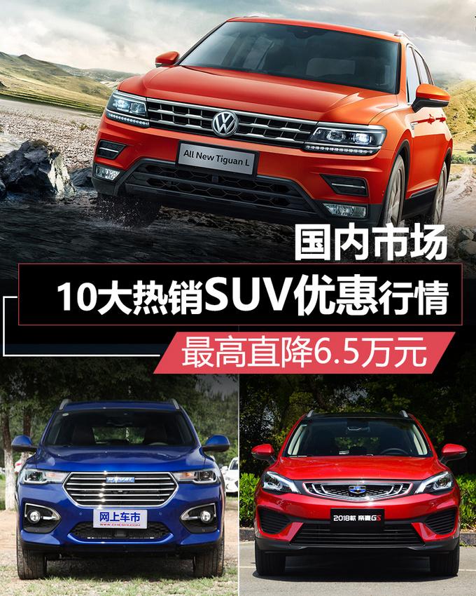 国内10大热销SUV优惠行情最高直降6.5万元!