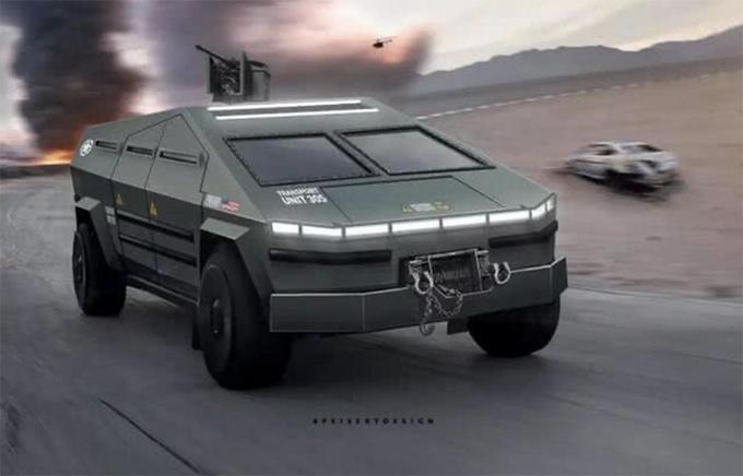 特斯拉Cybertruck变身军用装甲 科幻战场风格-图4