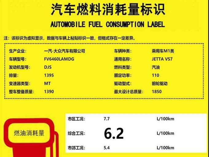 捷达VS7明年2月份上市 每百公里油耗最低仅6.2L-图2